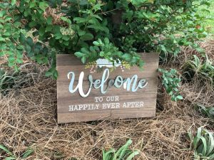 Sign at the reception welcoming guests
