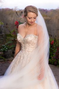 Bride in her dress and veil